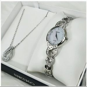 Seiko watch with necklace set